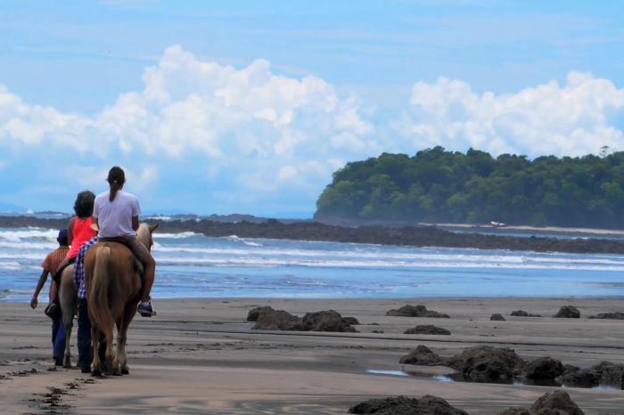 Primer plano de paseos a caballo con el mar de fondo Tours en el hotel Santa Catalina
