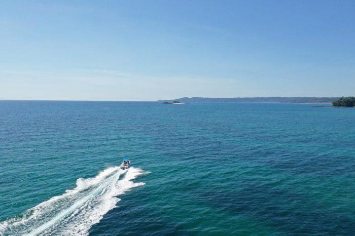 Vista aerea de la lancha de los tours de pesca del hotel Santa Catalina