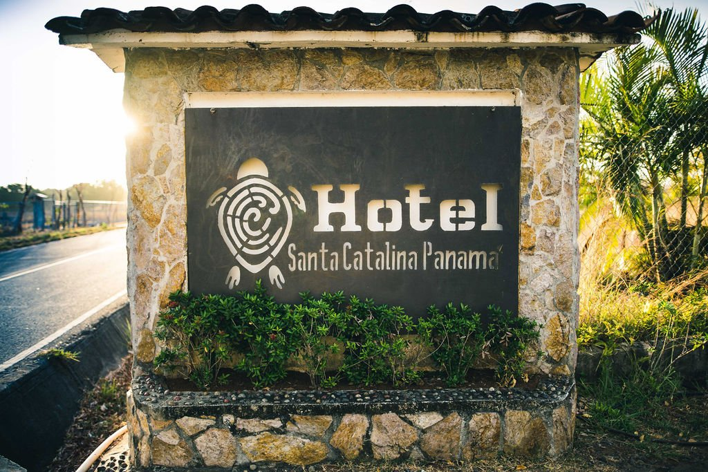 Image of the entry to the hotel Santa Catalina. Logo included.