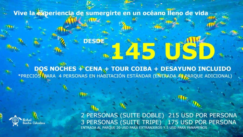 Imagen con las promociones de Tours a Coiba del hotel Santa Catalina