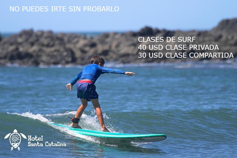 Imagen con nuestras promociones de clases de surf del hotel Santa Catalina